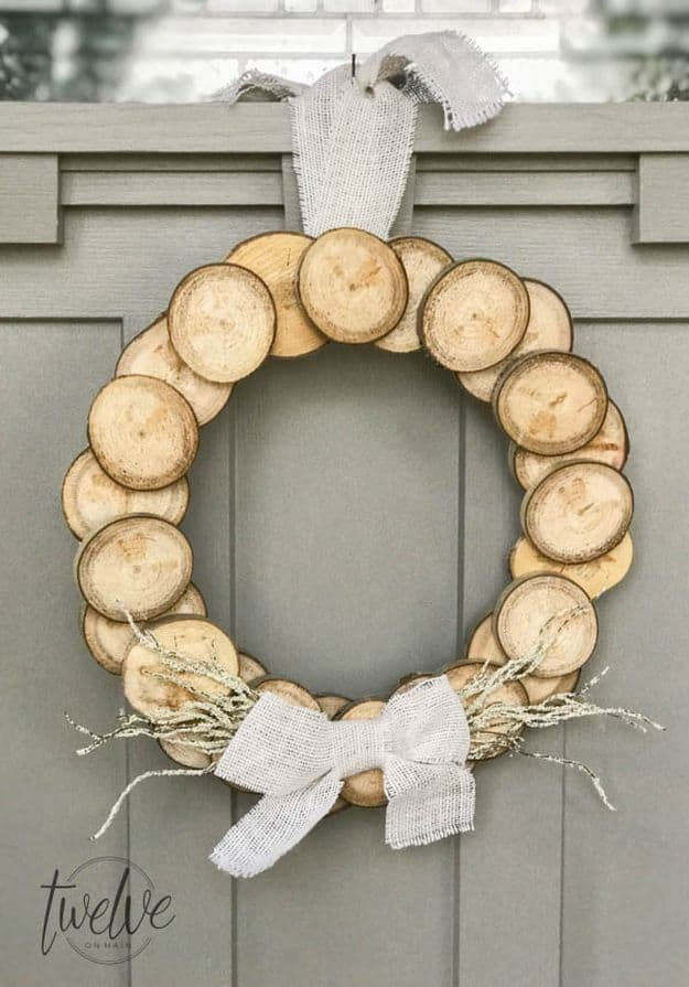 Rustic Wreath with Branch Slices
