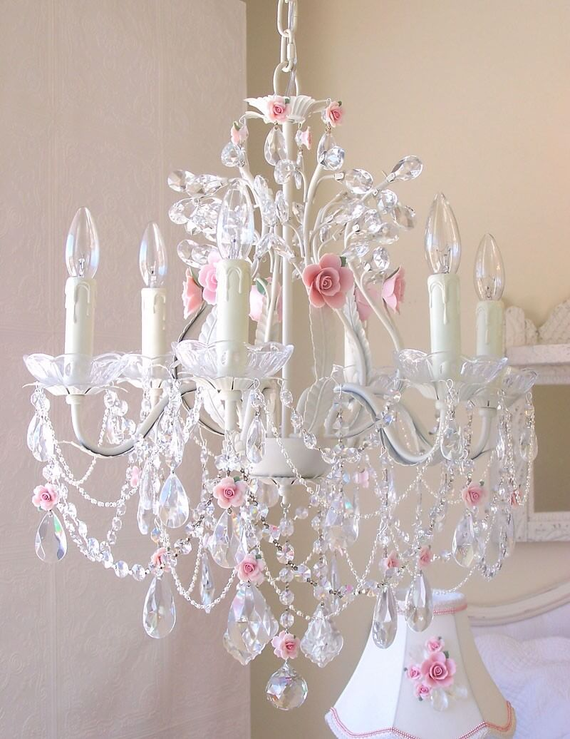 Pretty Pink and White Rose Chandelier