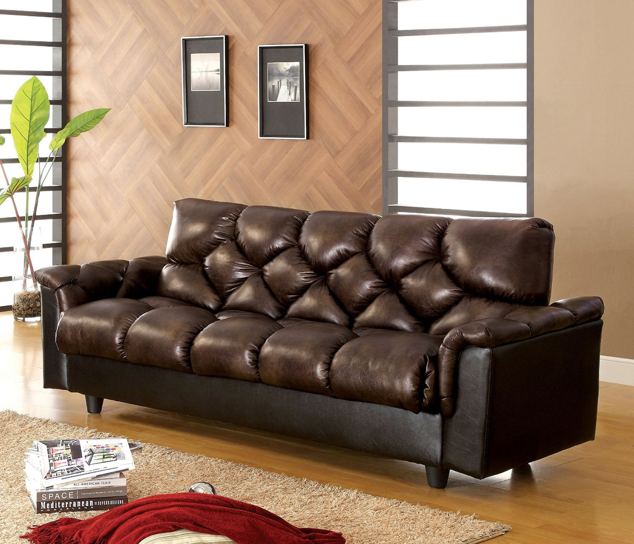 Sleeper Sofa - Carlington Leather Vinyl Storage Sleeper Sofa