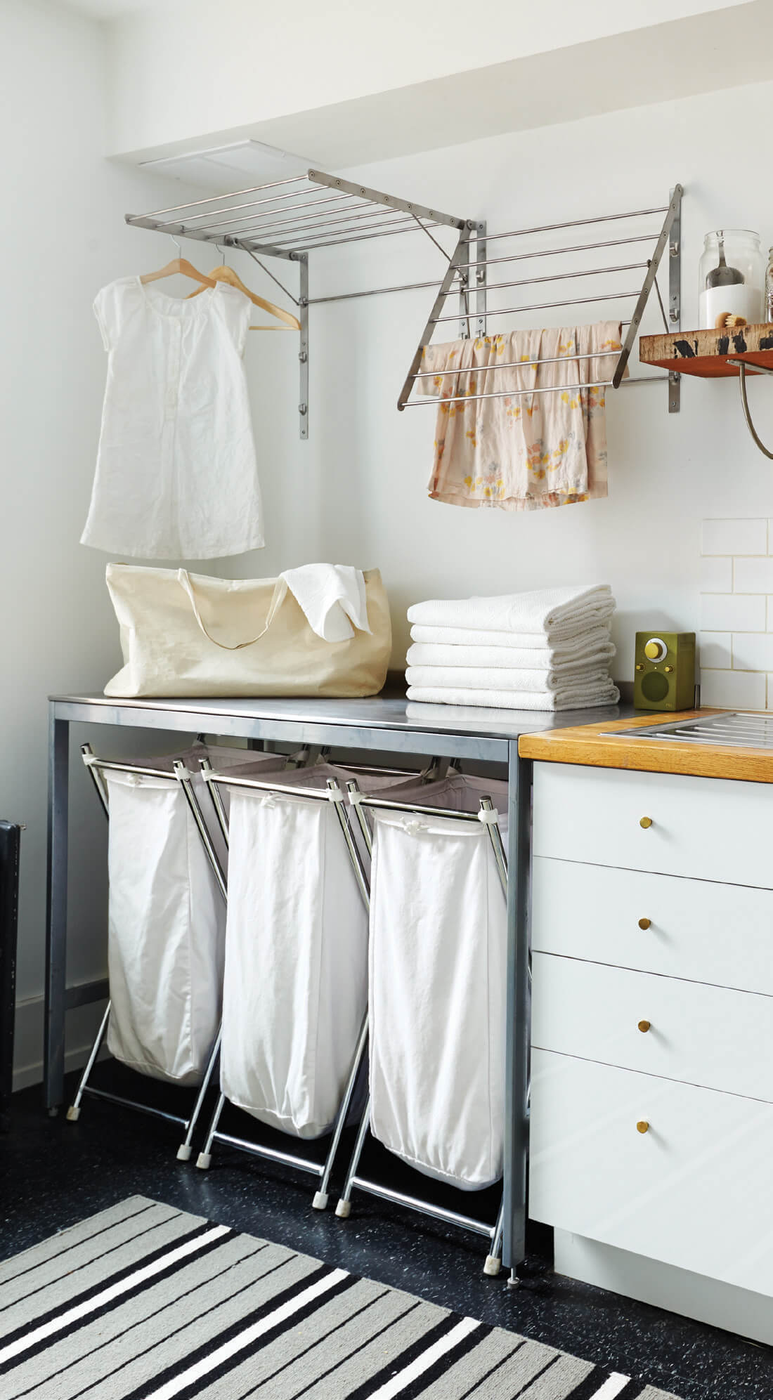 Easy, Beachy Sorting Laundry Room