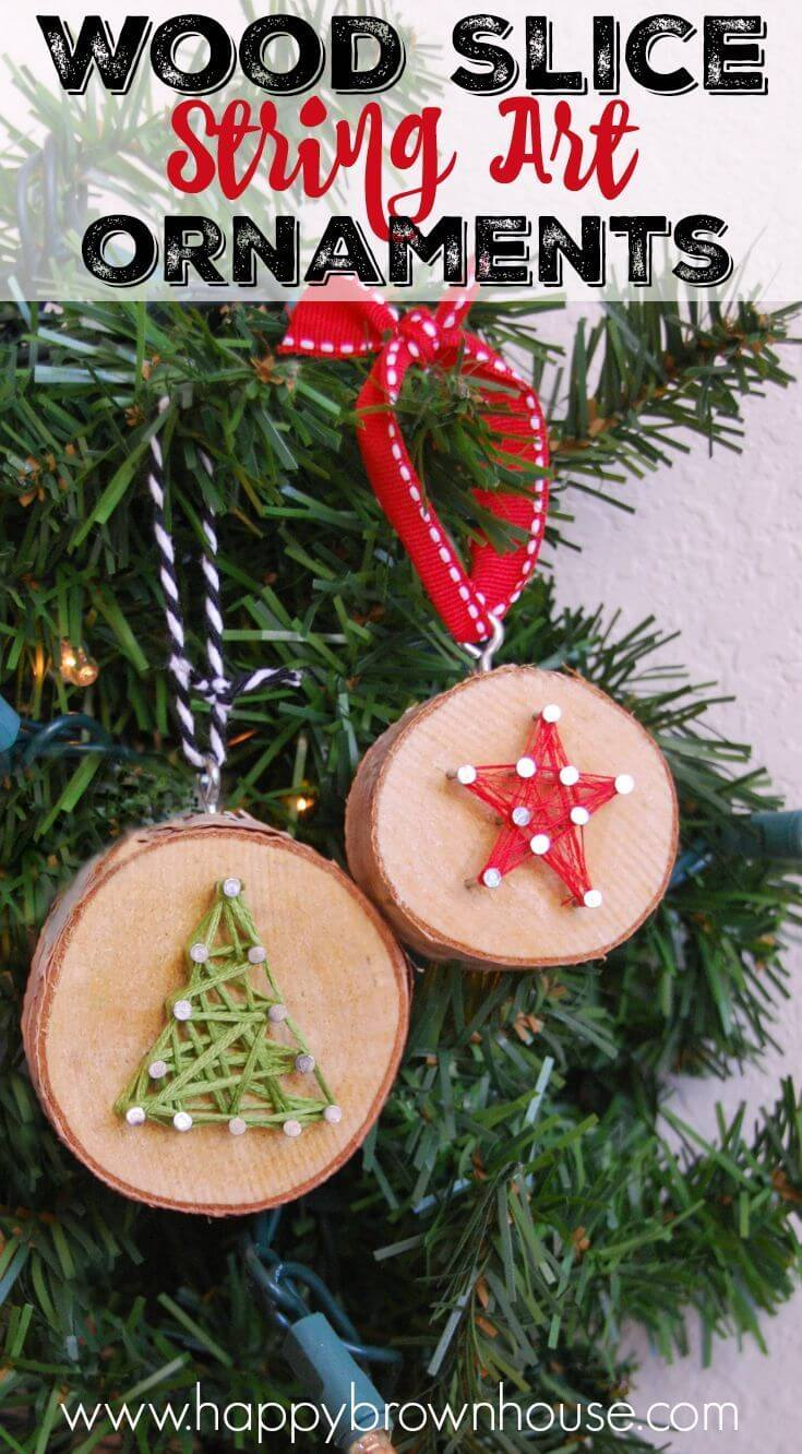 Wood Slice String Art Ornaments