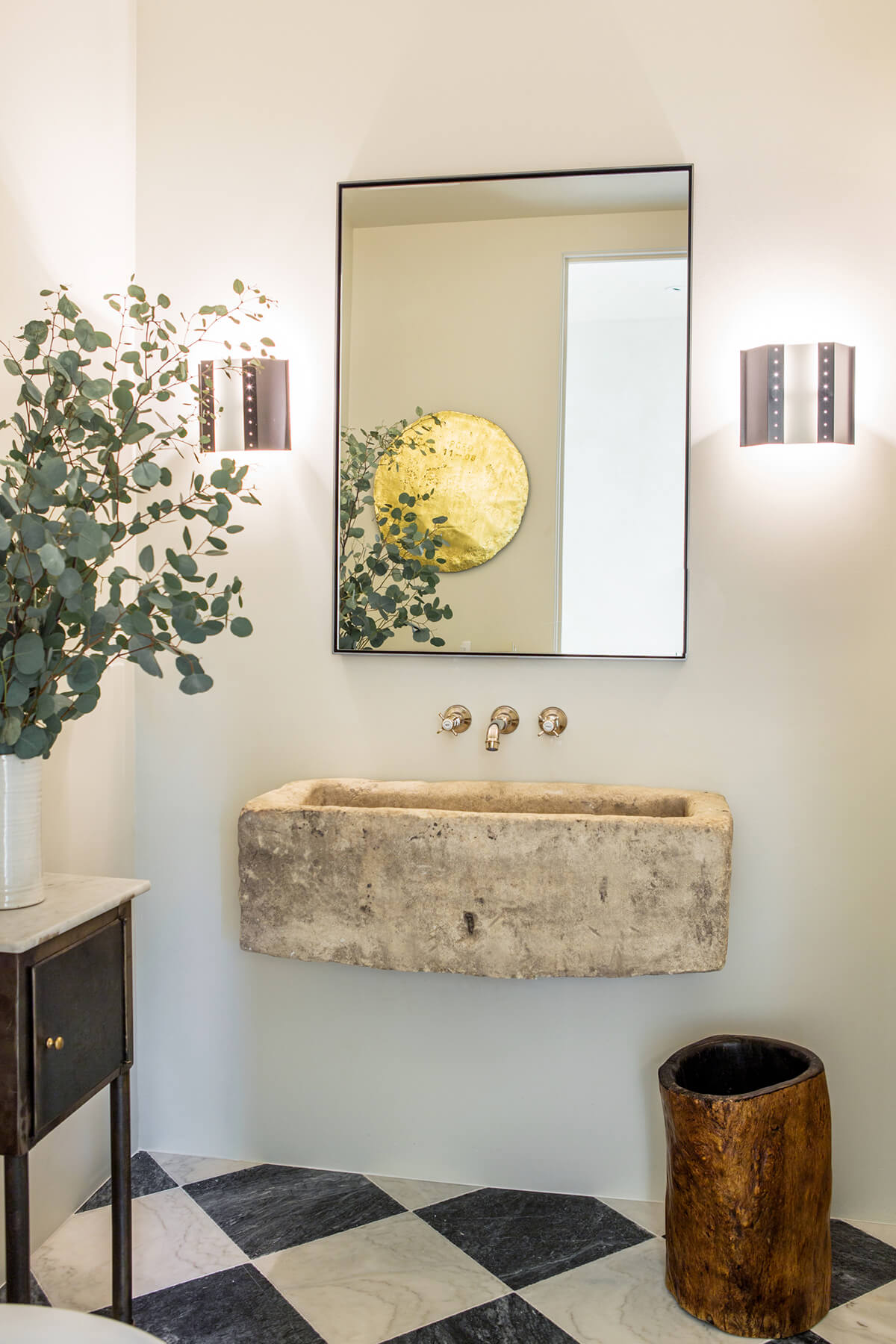 Standalone Sink with Modern Mirror and Lighting