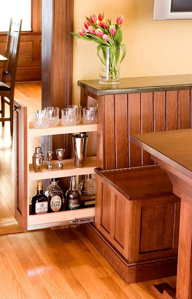 Pull Out Liquor Cabinet in a Dinette