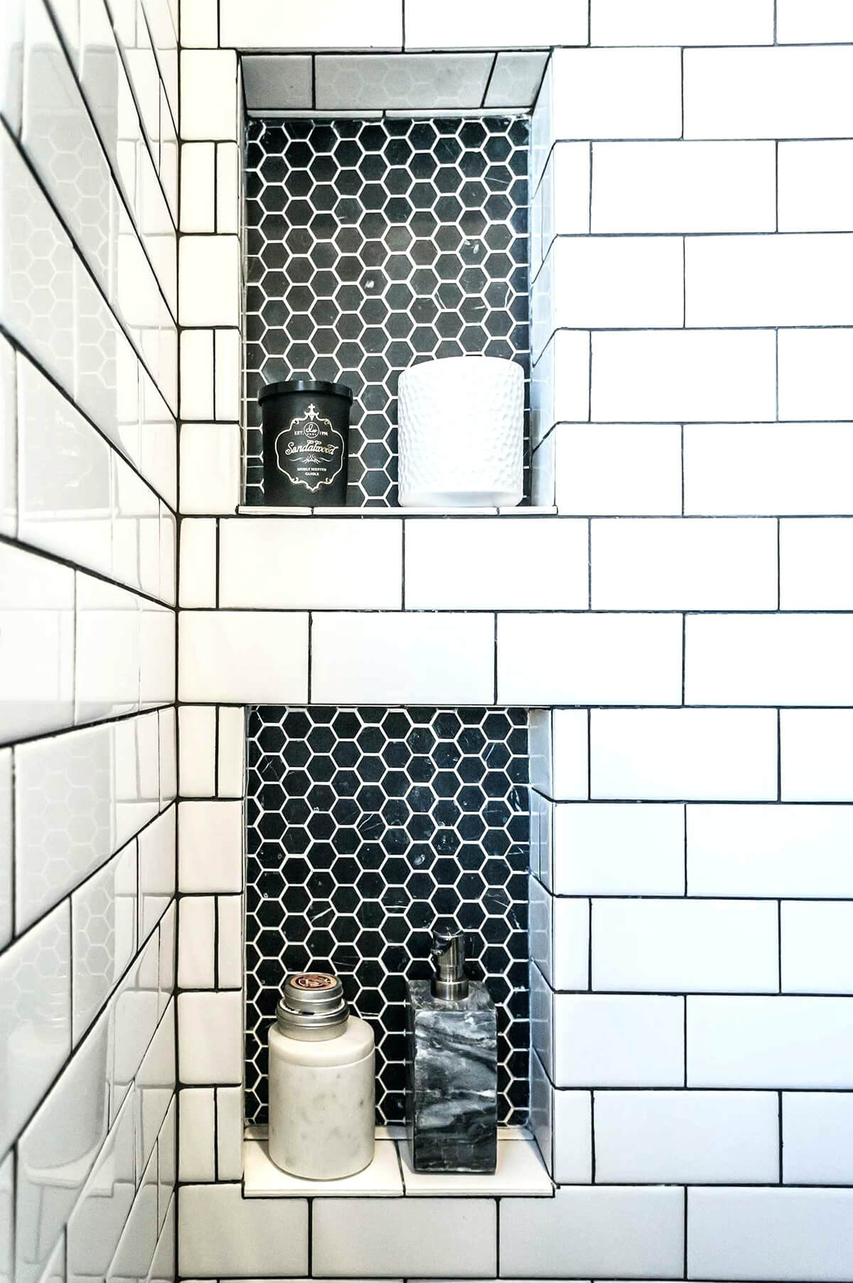 Built-in Tiled Shelves with Honeycomb Accent