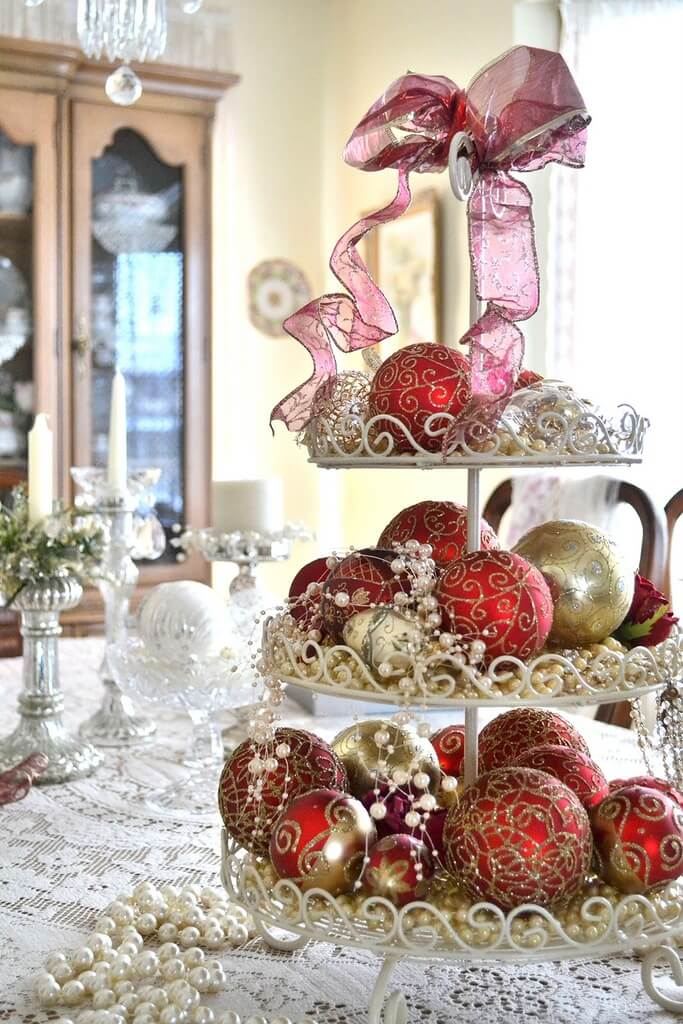 Scroll-worked Dessert Caddy And Matching Ornaments In Red And Gold