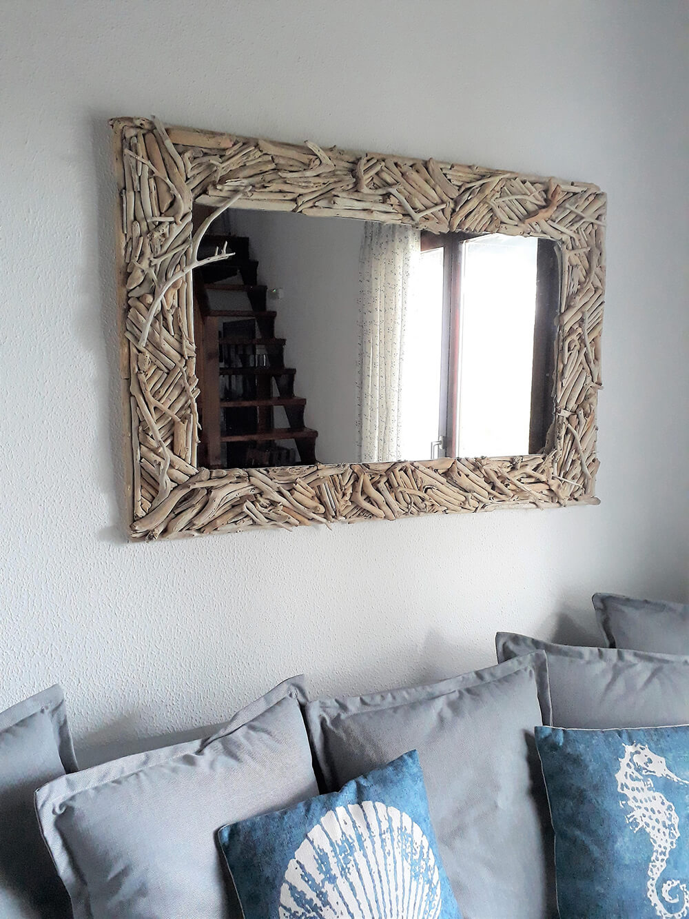 Coastal Mirror Made with Driftwood