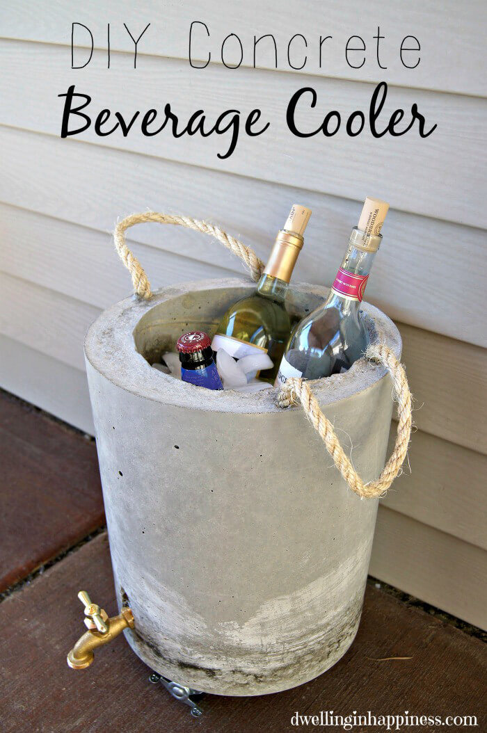 DIY Backyard Concrete Drink Cooler Project