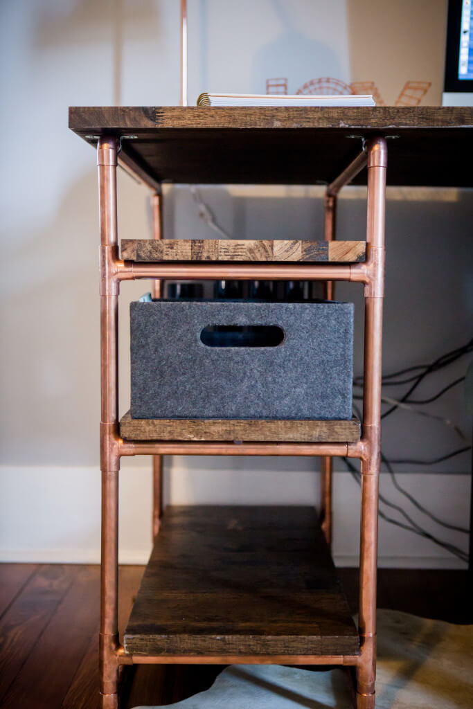 Copper Pipe Desk with Handy Drawer