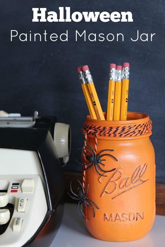 Sweet Painted Halloween Mason Jar Storage
