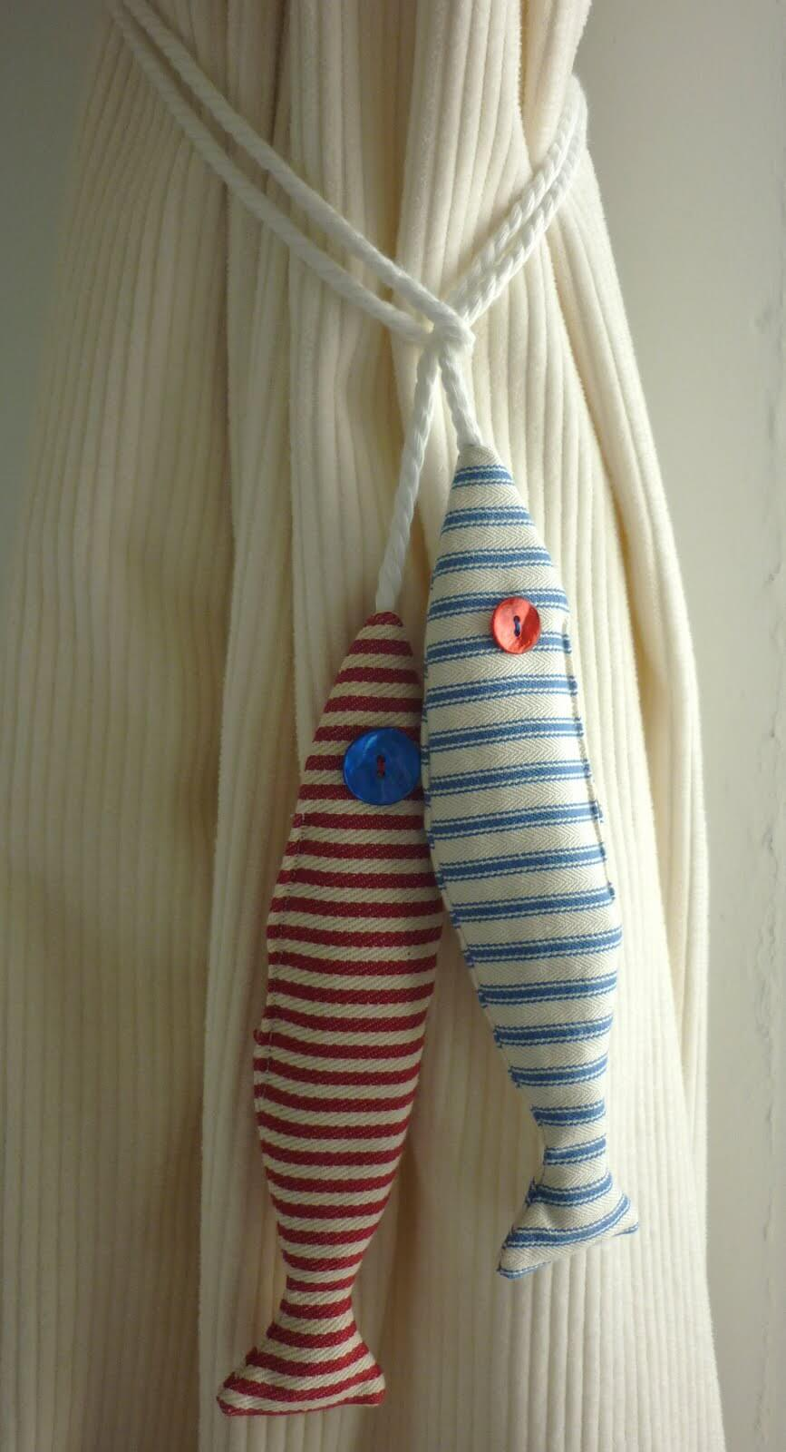 Cute Striped Fish Curtain Hold Backs