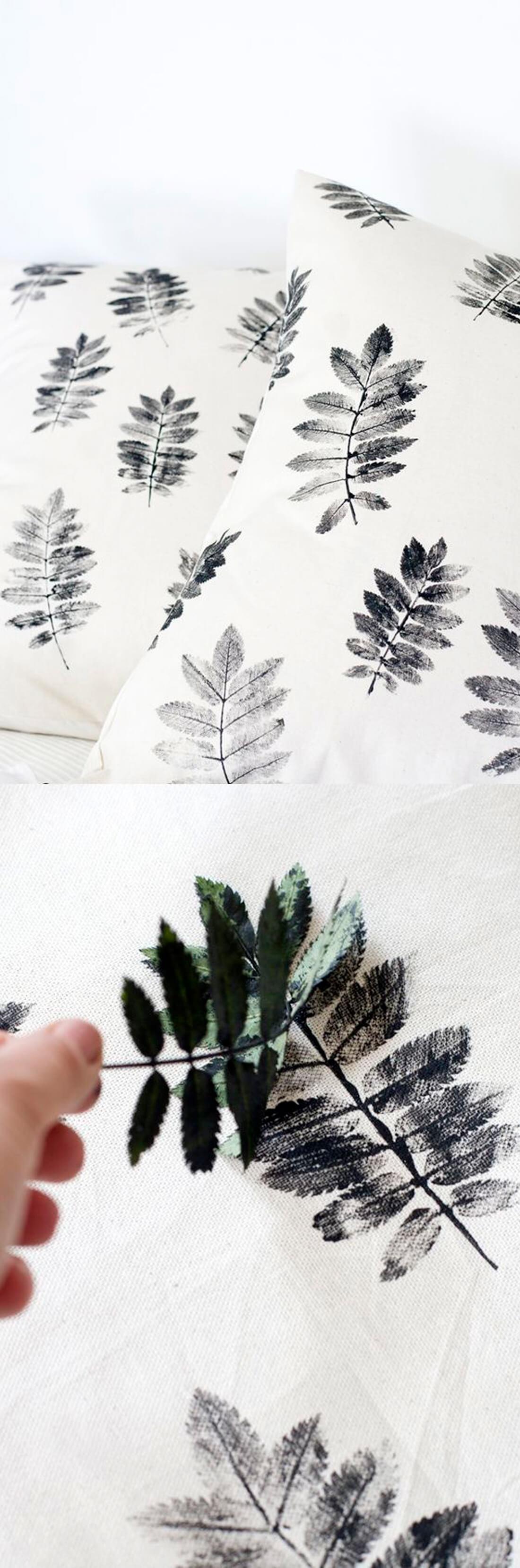 Easy DIY Leaf Print Pillow
