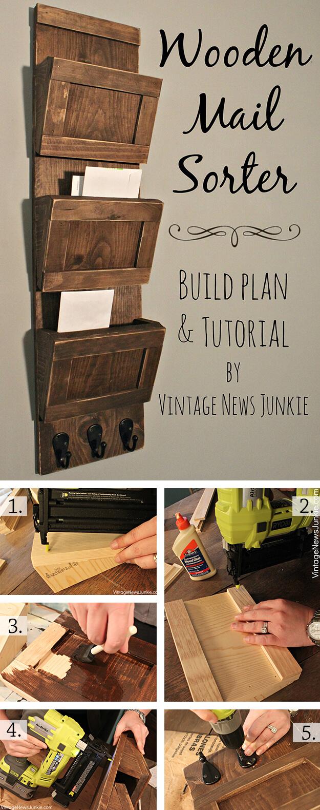 DIY Wood Mail Sorter Rack