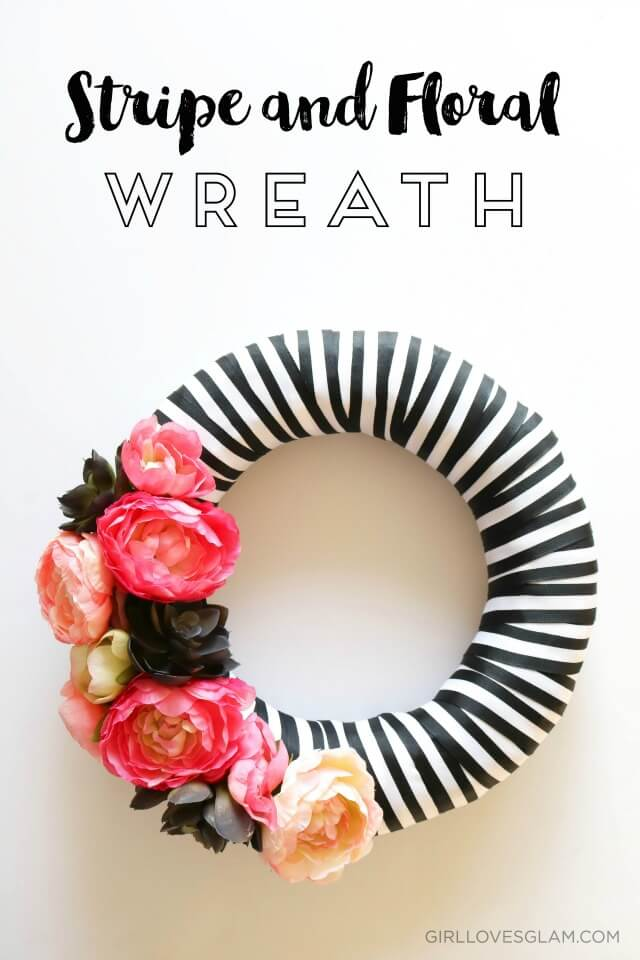 Eye-catching Striped Wreath with Bold Flowers