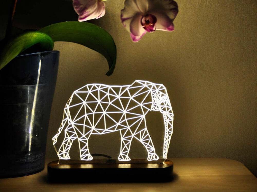 LED Elephant-shaped Lamp with Wooden Platform