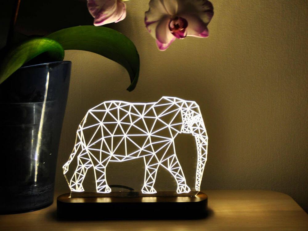 LED Elephant-shaped Lamp with Wooden Platform