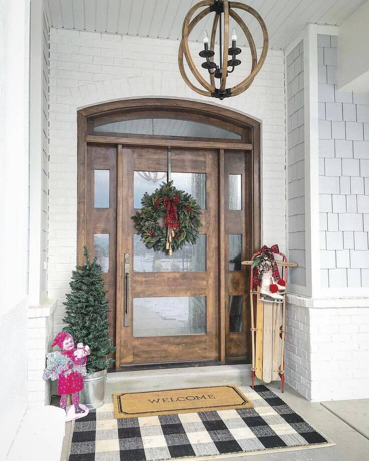 Wooden Front Door With Christmas Trees
