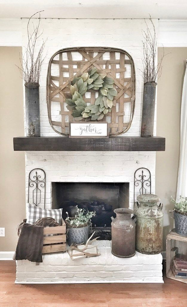Dramatic Rustic Floor-to-Ceiling Mantel Design