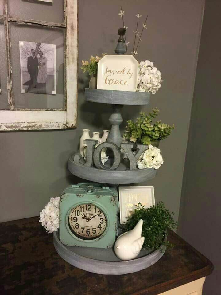 Farmhouse Gray Tiered Objet D'art Display