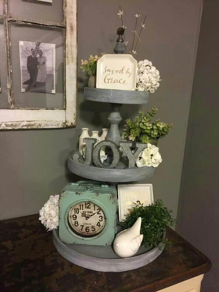 Farmhouse Gray Tiered Objet D'art Display