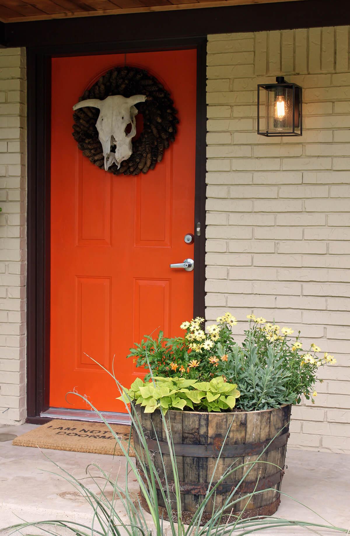 Orange with a Pine Cone Wreath