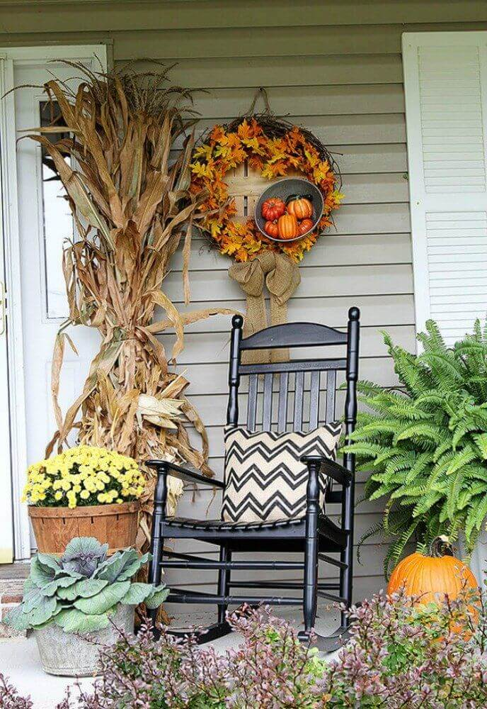 Pumpkins and Leaves Fall Wreath