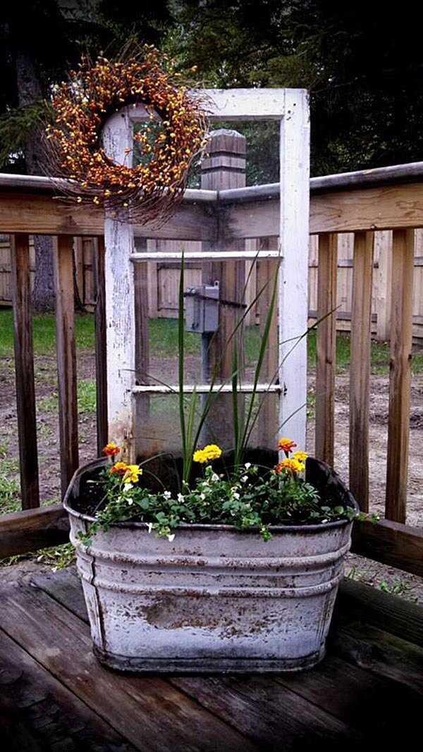 Upcycled Wash Tub and Window Planter Display