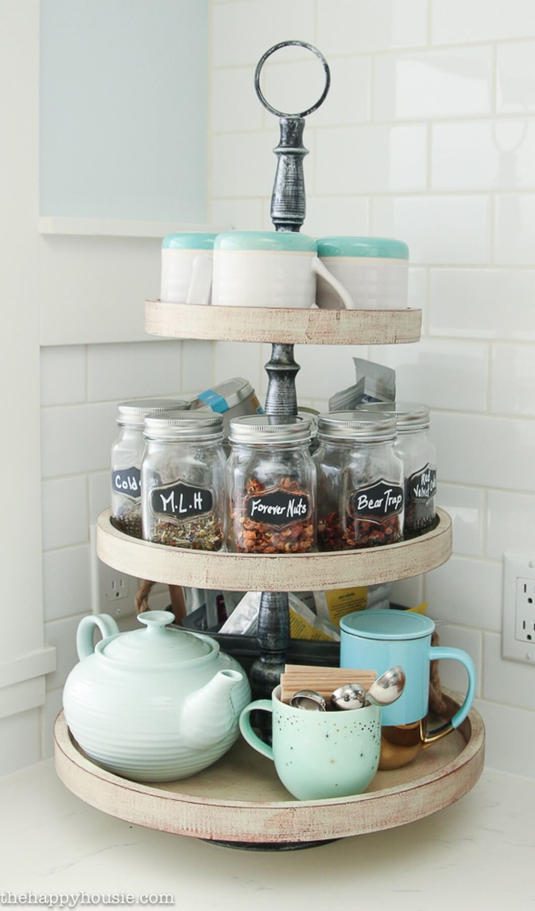 Three Tiered Lazy Susan for Tea and Snacks