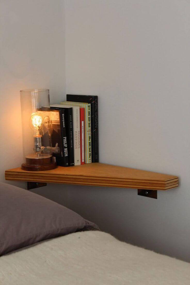 Honey Wood-colored Corner Shelf Saves Space
