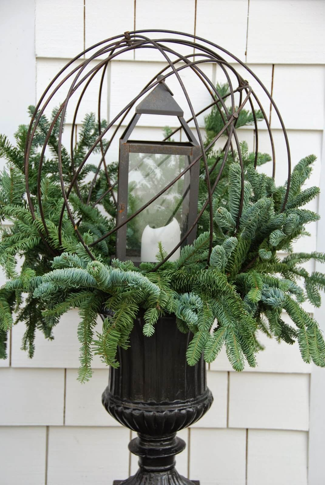 Evergreens and Lantern Globe Planter
