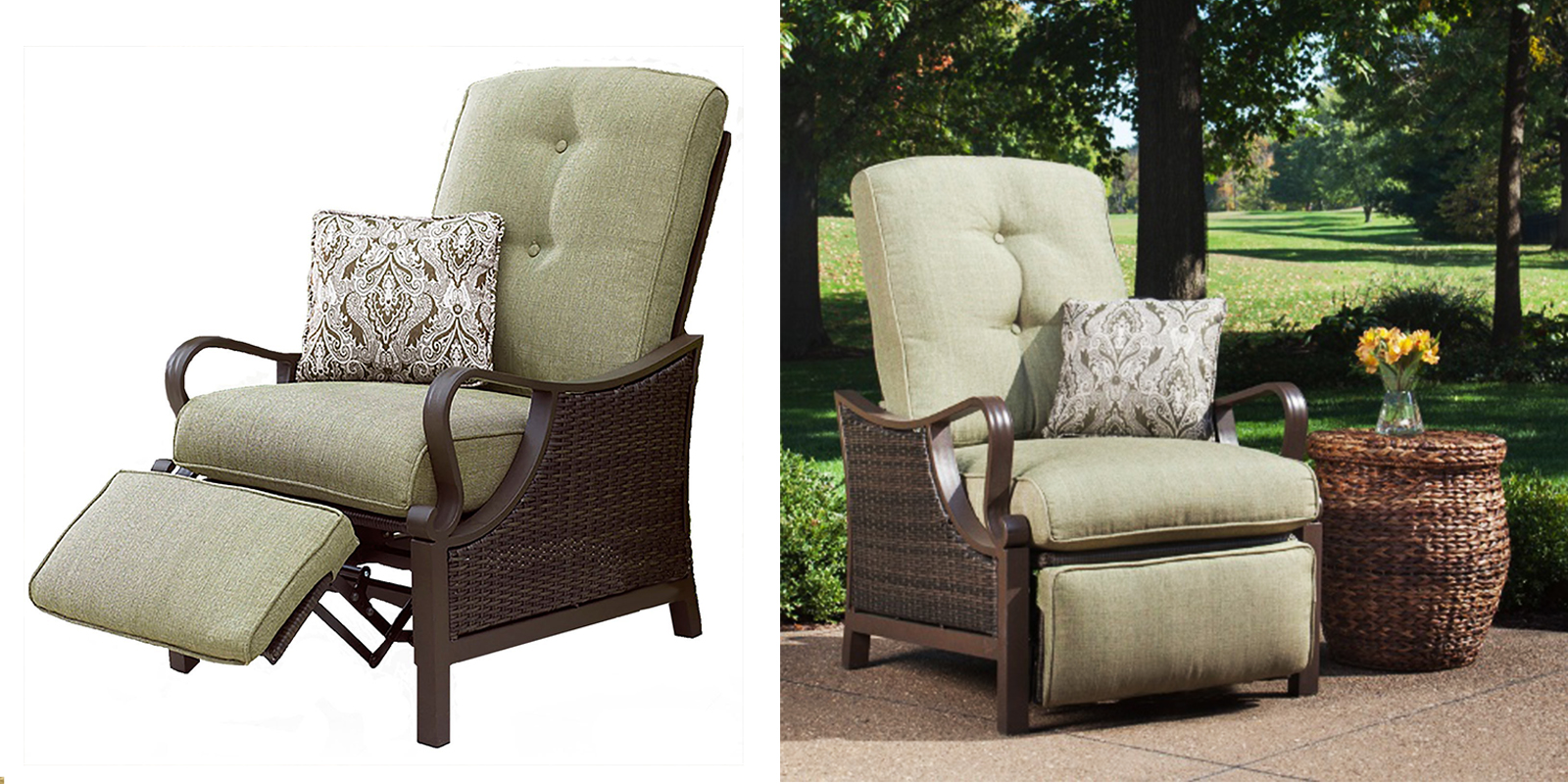 Patio Chair - Outdoor Recliner with Accent Pillow