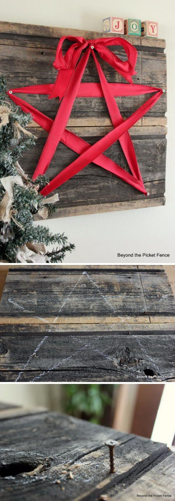 Ribbon Star Wooden Wall Art