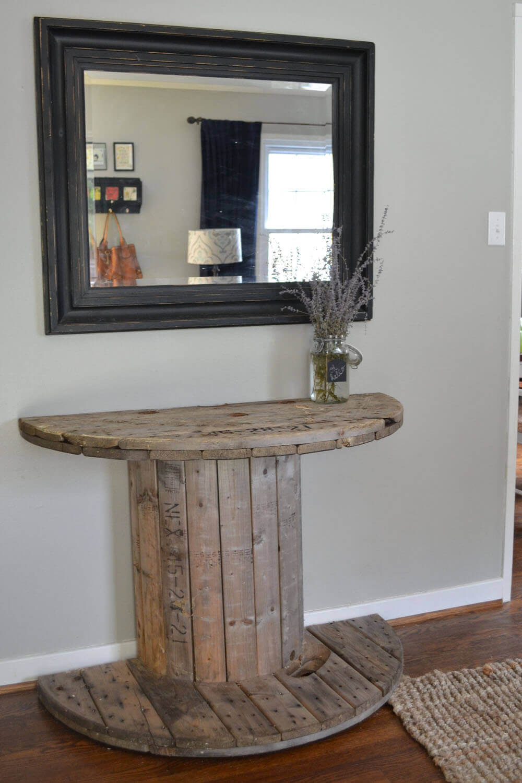 Halved Wood Spool Hallway Table