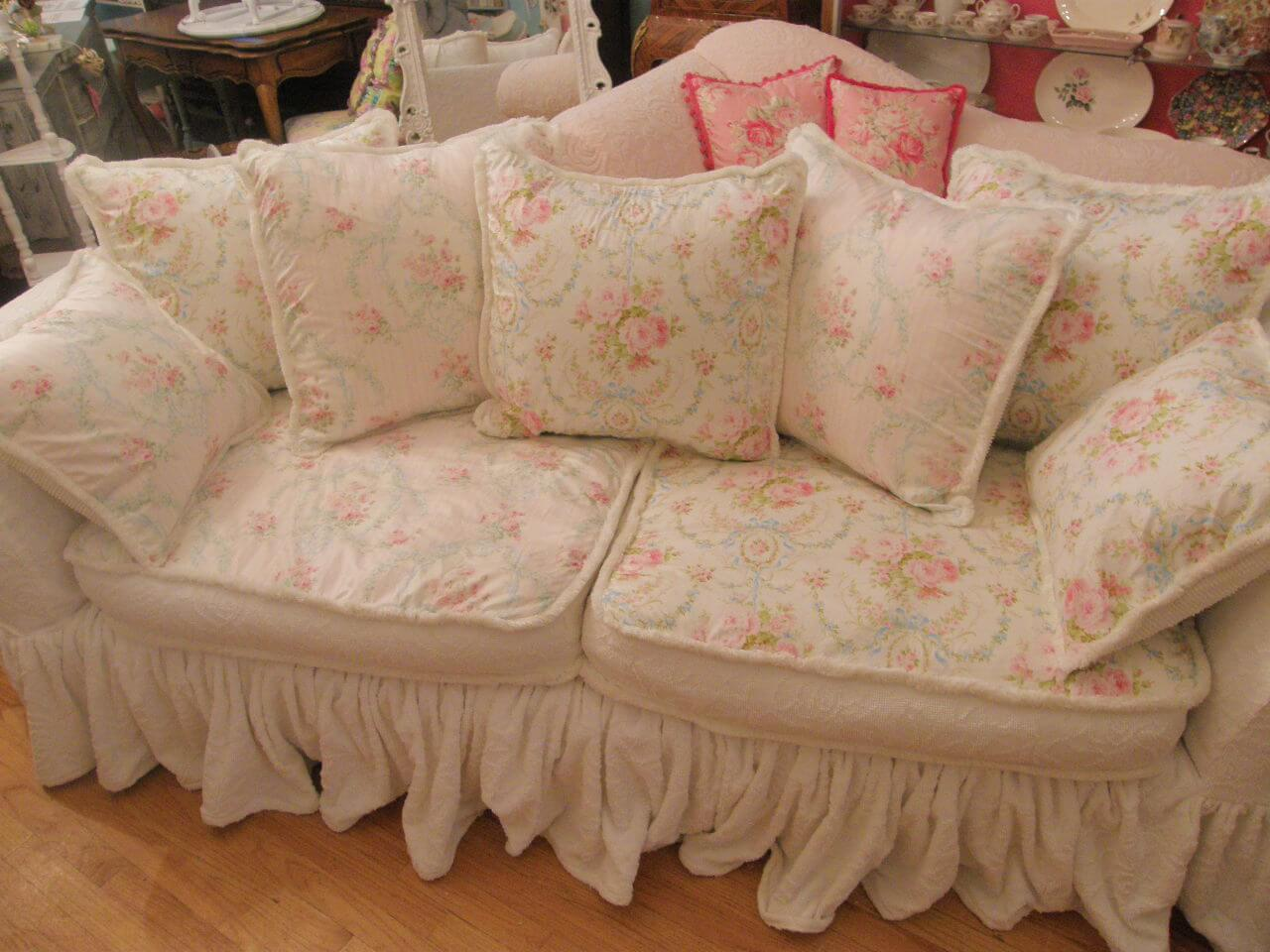 Gorgeous Flowered Sofa with Many Cushions