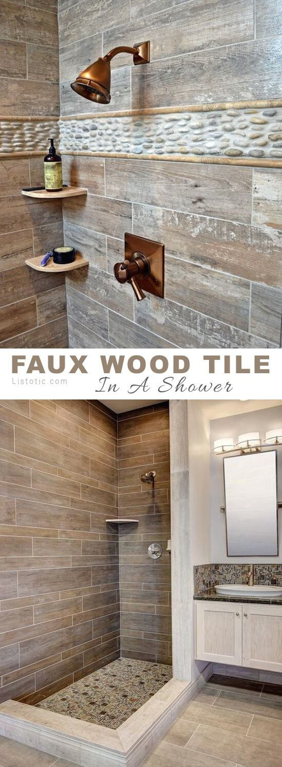 Outdoor Shower Style Faux Wood Tiling
