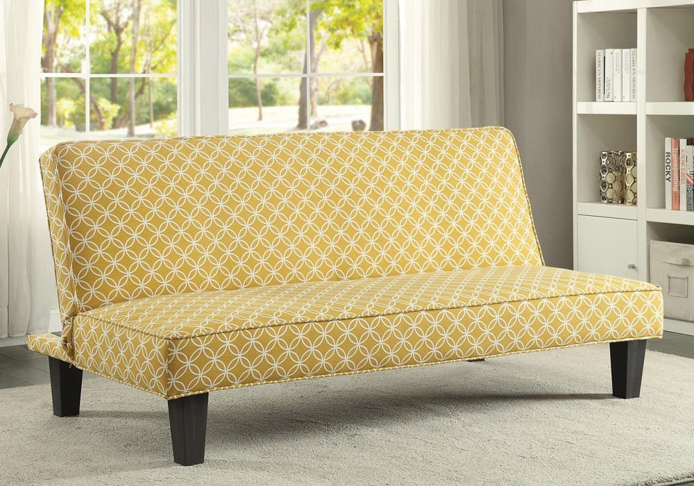 Sleeper Sofa - PerfectChoice Living Room Simple Adjustable Futon Sleeper Sofa Bed Trellis Pattern Fabric Color Mustard