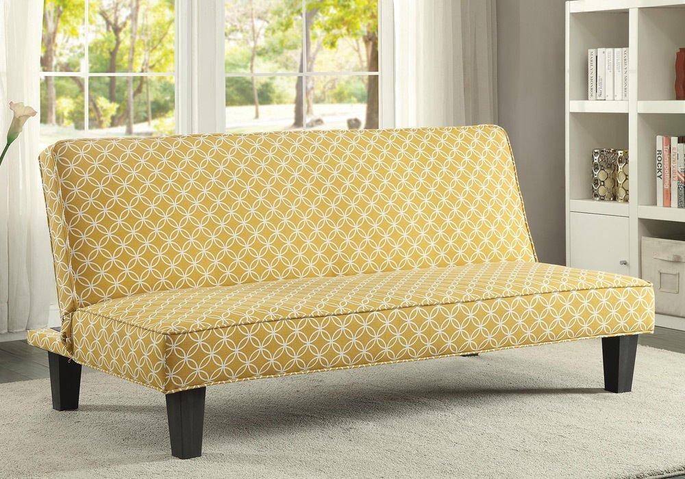 Sleeper Sofa - PerfectChoice Living Room Simple Adjustable Futon Sleeper Sofa Bed Trellis Pattern Fabric Color Mustard