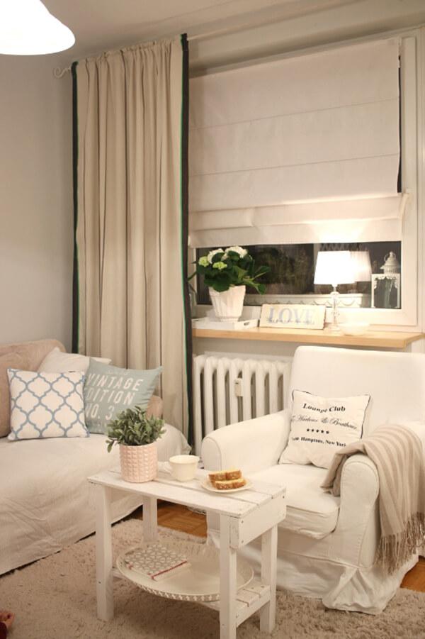 White and Beige Small Living Room Design Idea