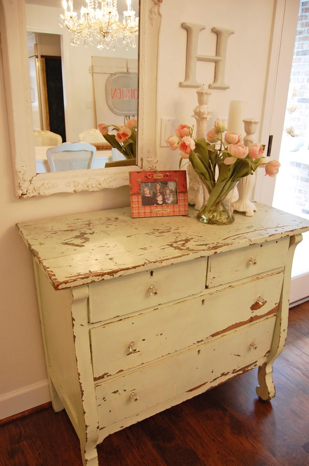 Distressed Hall Table With Ornate Framed Mirror