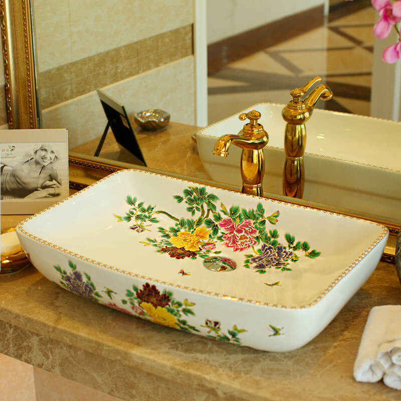 Floral Basin with a Vintage Feel