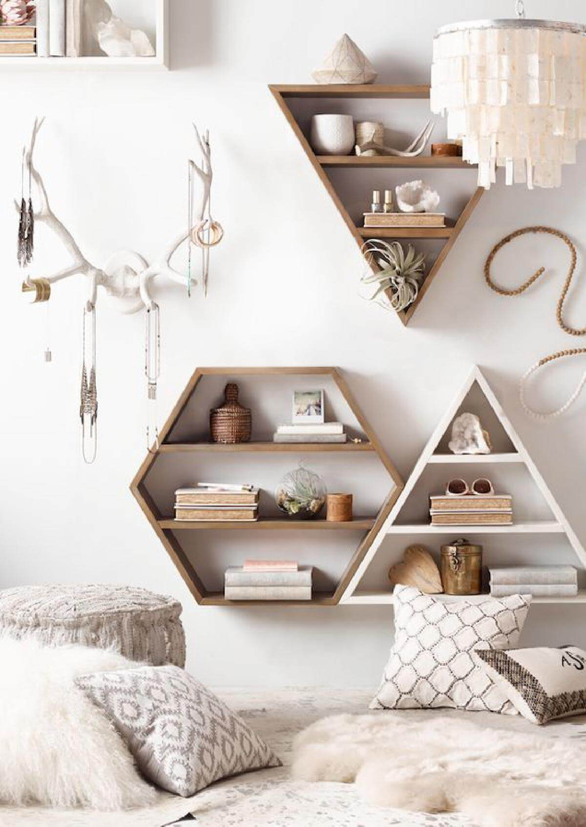 Set Of Wooden Rustic Geometric Wall Shelves