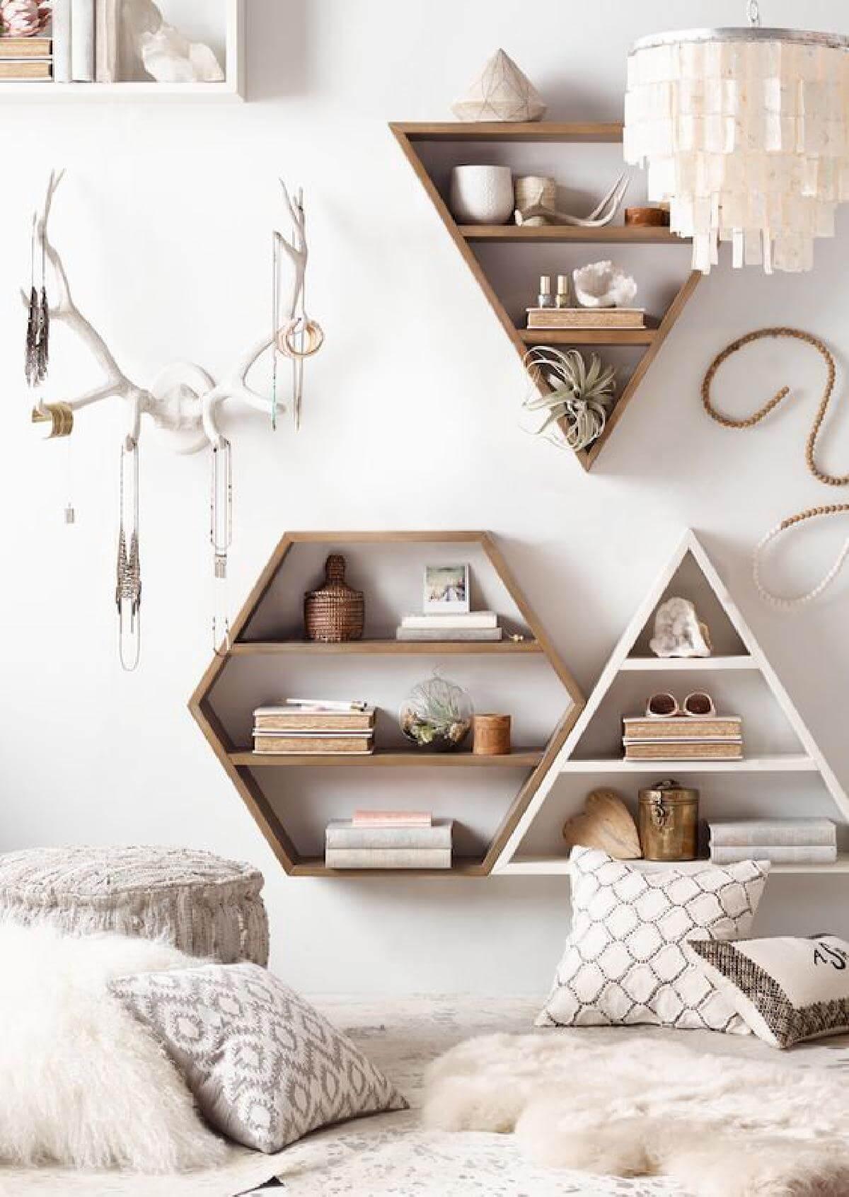 Set Of Wooden Rustic Geometric Wall Shelves