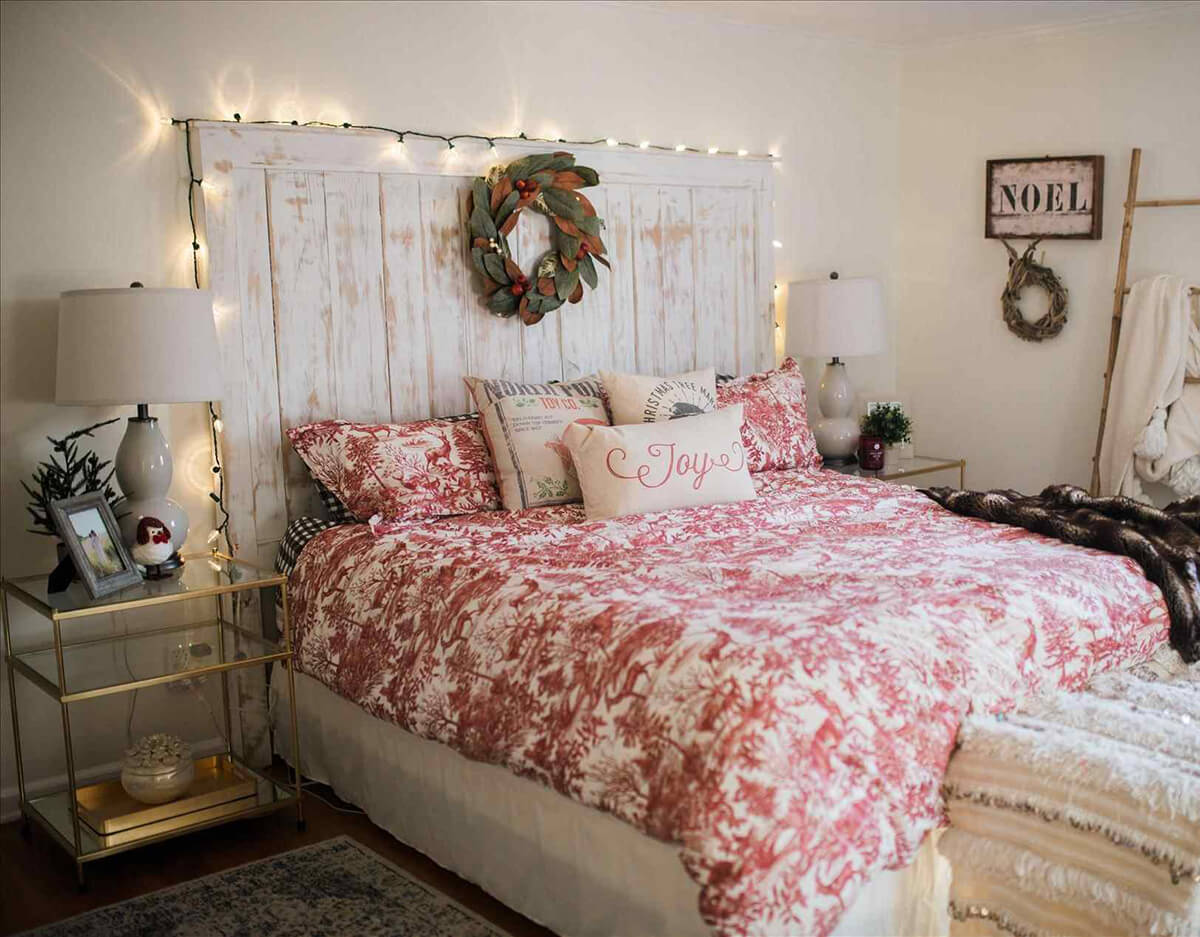 Lights Surround Farmhouse Headboard and Wreath