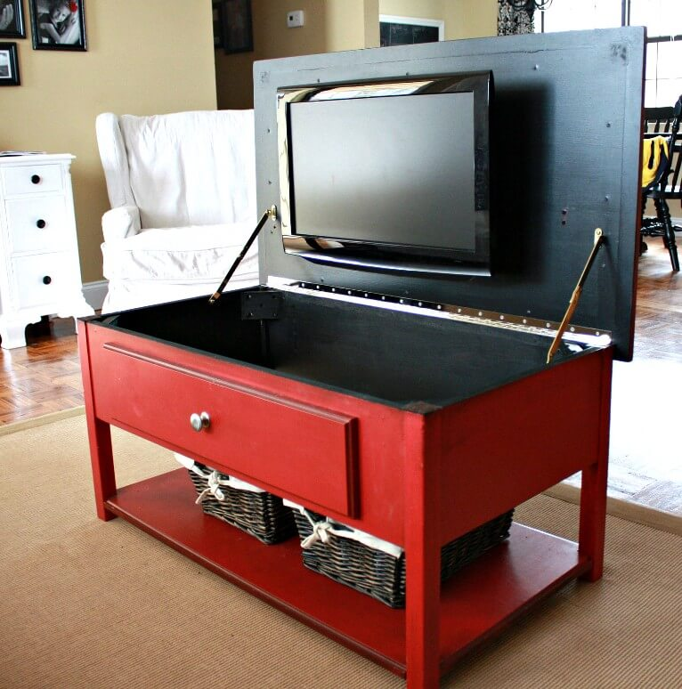 Livingroom Coffee Table with Hidden TV Mount