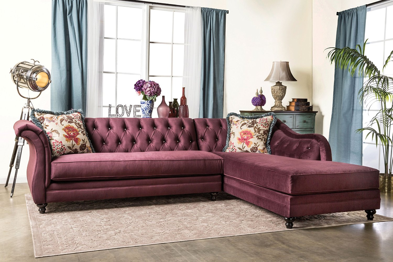 Furniture of America 2 Piece Corinee Glamorous Sectional Sofa