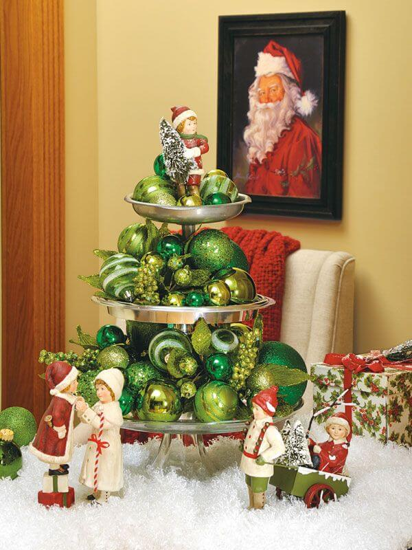 Monochromatic Display Of Vintage Green Ornaments And Figurines