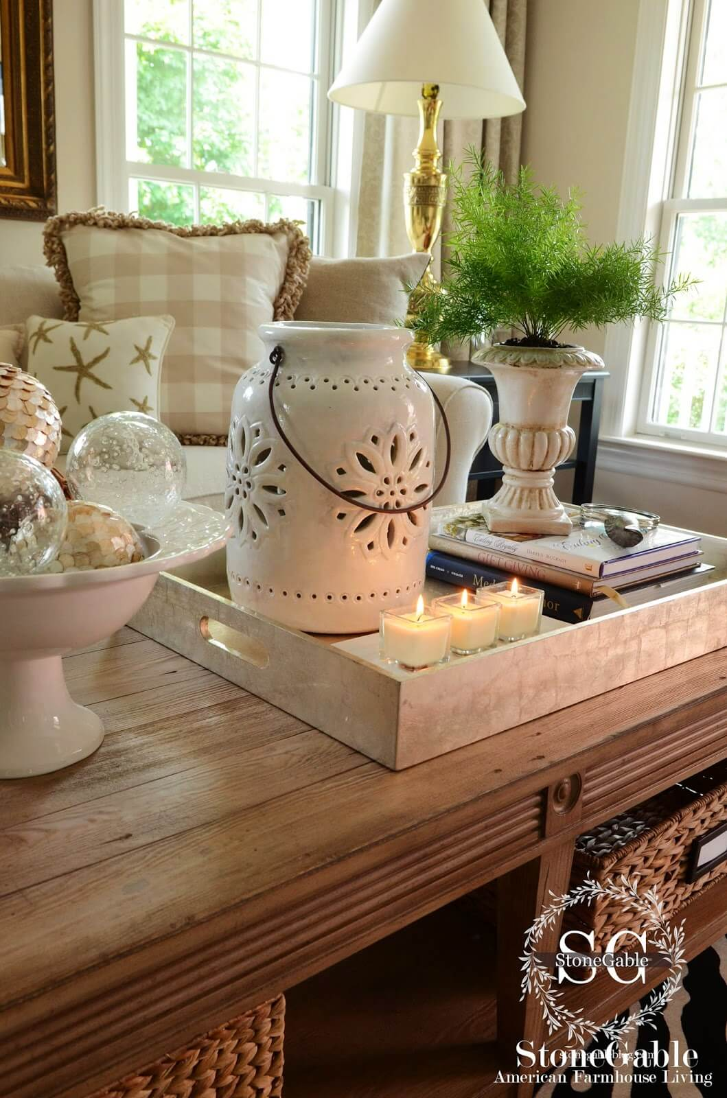 Pedestal Vessels with Houseplants and Decorative Accent Spheres