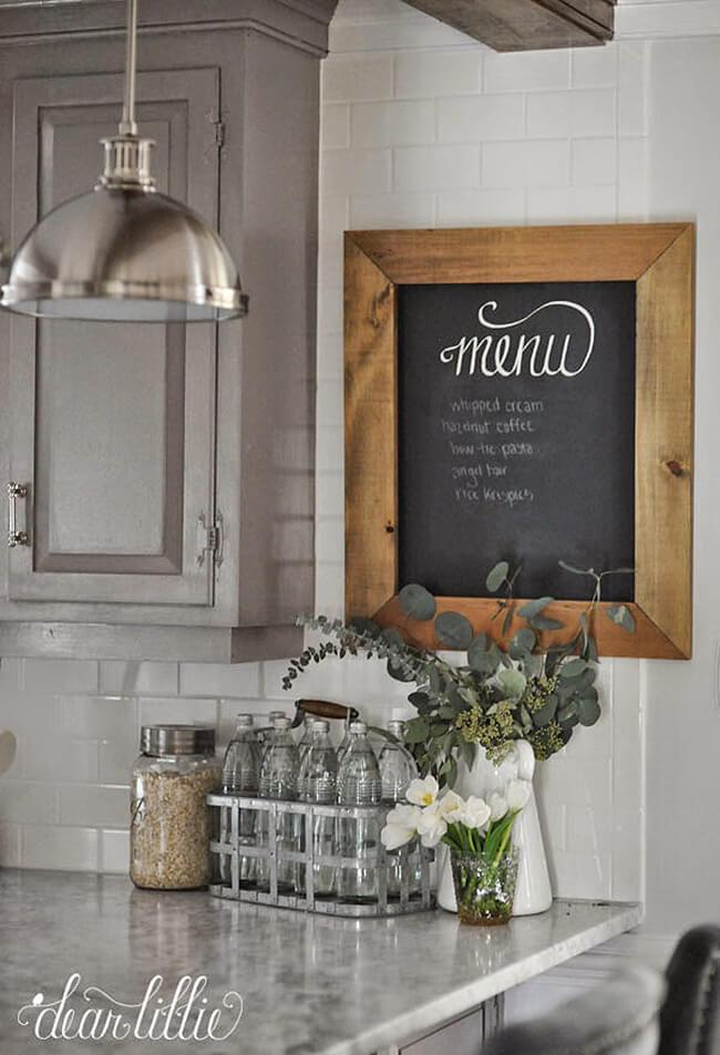 Rustic Menu Board on the Wall