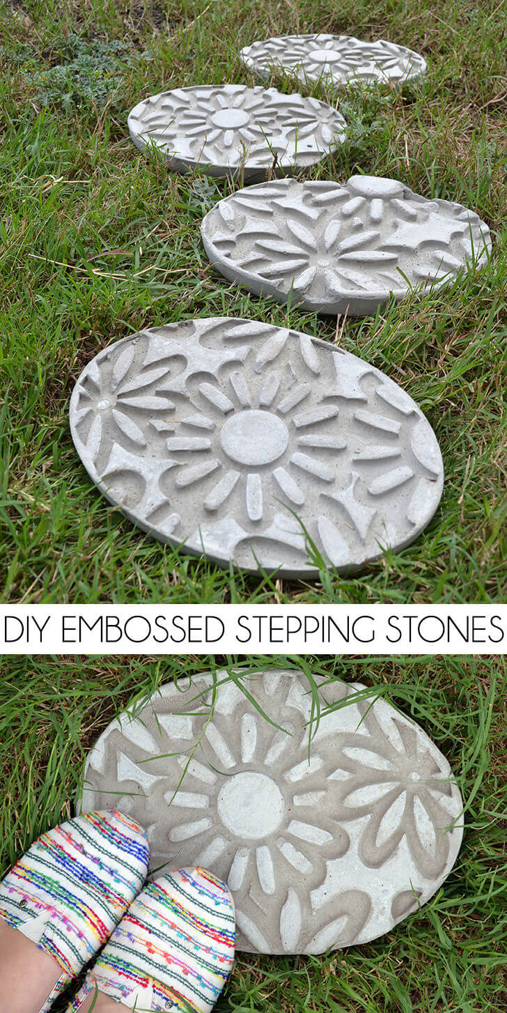 Ornate Concrete Stepping Stone with Flowers