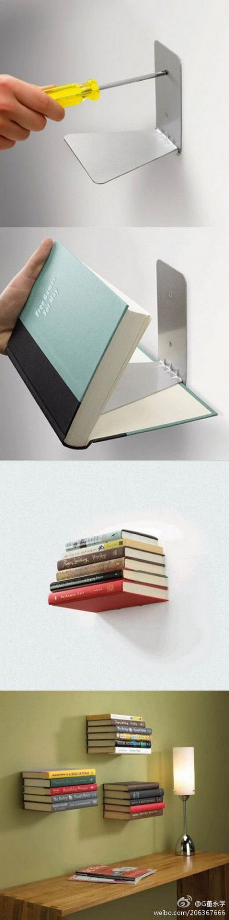 Minimalist Invisible Stacking DIY Bookshelves