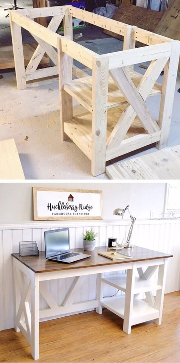 DIY Desk Ideas with X Shaped Ends
